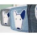โอบิCD ผ้าคาดเอวสุนัขตัวผู้ที่ยกขาฉี่ ผ้าเดนิมนิ่มซักง่ายแต่งรูปหมาน่ารัก size XSรอบเอว9.5-11.5นิ้ว)