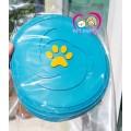 ของเล่นสุนัข  จานร่อน  Frisbee  Toy ขนาด 9 นิ้ว ยางอย่างดี สีฟ้าสด ปั้มนูนรอยเท้าสุนัข