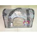 กระเป๋าใส่สุนัขPuppe มีช่องระบายอากาศรอบ ลายสก็อตน้ำตาล สำหรับสุนัขแมว1-5 กก.