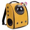 กระเป๋าใส่แมวอวกาศ Galaxy+เป้สะพายหลัง รับน้ำหนักได้ 1-5กก.มีช่องโดมมองวิว รุ่นหนังสีเหลือง