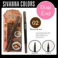 ดินสอเขียนคิ้ว Dual End eyebrow Sivanna Colour DP-020 NO.02(natural Brown)