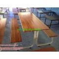 pmy5-26 โต๊ะโรงอาหารขาสมอเรือ หน้าไม้สักแผ่นเดียว
