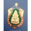 เหรียญปั๊มพระพุทธชินราช เนื้อเงิน ลงยาราชาวดี สีเขียว