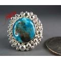 แหวนเงินแท้หัวเทอร์ควอยส์ ล้อมด้วยเม็ดเงินแท้ วงเล็ก silveer ring ,turquoise