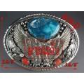 หัวเข็มขัดเงินแท้ รูปนกอินทรีแกะจากเงินแท้ หินเทอร์ควอยส์คิงแมนสีฟ้า Silver Buckkle,turquoise