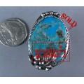 แหวนเงินแท้ ฝังเทอร์ควอยส์สีฟ้าเม็ดใหญ่หนึ่งเม็ด ลายใบไม้หนึ่งใบ  silver ring,turquoise
