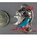 แหวนเงิแแท้ เงินแกะรูปหัวช้างช่วงงวง งาเป็นเทอร์ควอยส์ เข้าชุดกับกำไลงวงช้าง ,silver ring,turquoise