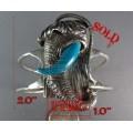 กำลังทำกำไลเงินแท้รูปหัวช้างช่วงงวง งาทำด้วยเทอร์ควอยส์สีฟ้าอริโซน่า ก้านโปร่ง Bracelet  silver,turq