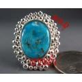 แหวนเงินแท้หัวเทอร์ควอยส์ ล้อมด้วยเม็ดเงินแท้ กลมเล็ก silver ring,turquoise