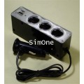 WF-0096 - Car Triple Power Socket with USB (Black)