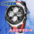 OHSEN – AD0926-4: Dual Time Dual System Alarm / Chronograph Sports Watch