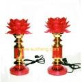 โคมหน้าพระดอกบัวบานสีแดงแสง Led  ขนาดสูง 10 นิ้ว