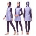 ชุดว่ายน้ำมุสลิม แขนยาว ขายาว สำหรับผู้หญิง สีเทา