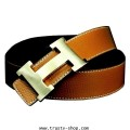 เข็มขัดผู้หญิง Women\'s Belt รุ่น Gold H Buckle 1241 - สีน้ำตาล