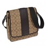 กระเป๋าสะพาย COACH HERITAGE SIGNATURE MAP MEN\'S CROSS BODY BAG IN KHAKI BROWN F71102