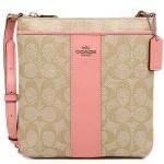 กระเป๋าสะพาย COACH SIGNATURE PVC AND LEATHER NORTHSOUTH CROSSBODY BAG  LIGHT KHAKI  PINK F52856