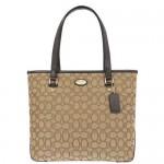 กระเป๋าสะพาย COACH OUTLINE SIGNATURE ZIP TOTE SHOULDER BAG KHAKIBROWN F36185