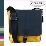 กระเป๋าสะพาย COACH VARICK COLOURBLOCK MAP BAG NAVY YELLOW F70833