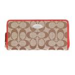 กระเป๋าสตางค์ COACH SIGNATURE ACCORDION ZIP WALLET KHAKI  CARDINAL  F53618