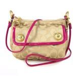 กระเป๋าสะพาย COACH  POPPY C SIGNATURE BUTTON CROSSBODY BAG  KHAKI HOT PINK 44089