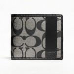 กระเป๋าสตางค์ COACH HERITAGE MEN CANVAS COMPACT WALLET BLACK 74516
