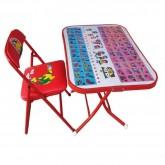 ชุดโต๊ะเก้าอี้นักเรียนหน้าเหล็ก รุ่นพับได้ สีแดง