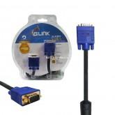 Glink 1.8M VGA Cable สายยาว 1.8 เมตร หัวท้ายตัวผู้ รุ่น SVGA001 หัวเคลือบทอง ออกใบกำกับภาษีได้