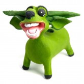 ตุ๊กตาเปเปอร์มาเช่รูปควายไทย สีเขียว