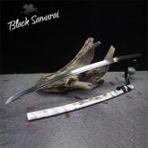 Black Samurai ดาบซามูไร katana T10  รุ่น White Marble ฮามอนแท้ ลับคมแล้ว แต่งครบ เคลือบเงา ฟักดาบไม้