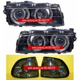 ไฟหน้าโปรเจคเตอร์ BMW 7 SERIES E38 95-98 ดำ วงแหวน พร้อมมุมดำ