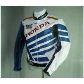 เสื้อแจ็คเก็ตแข่งรถจักรยานยนต์แจ็คเก็ตหนัง สีฟ้า/ขาว