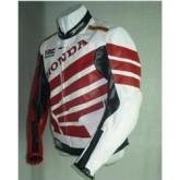 เสื้อแจ็คเก็ตแข่งรถจักรยานยนต์แจ็คเก็ตหนัง สีลายแดง ขาว