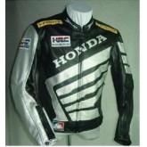 เสื้อแจ็คเก็ตแข่งรถจักรยานยนต์แจ็คเก็ตหนัง ลายดำ ขาว