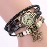 นาฬิกาเข็มขัดหนังแท้ จี้ผีเสื้อ(สีดำ)