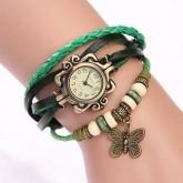 นาฬิกาเข็มขัดหนังแท้ จี้ผีเสื้อ (สีเขียว)
