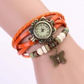 นาฬิกาเข็มขัดหนังแท้ จี้ผีเสื้อ (สีส้ม)