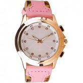 Women Watch นาฬิกาข้อมือผู้หญิง Leopard Artificial Pink Leather Strap Watch