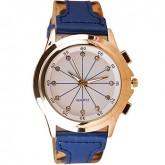 Women Watch นาฬิกาข้อมือผู้หญิง Leopard Artificial Blue Leather Strap Watch
