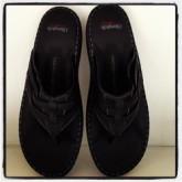 รองเท้าแตะหนีบหนังแท้สีดำล้วนเดินเส้นขาว