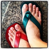 รองเท้าหนีบหนังแท้handmade4สี แดงเขียวส้มน้ำตาล