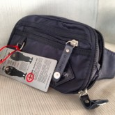 กระเป๋าคาดเอวหรือสะพายหน้าอกแบบผ้า TOUGH สีดำรุ่นขอบมน