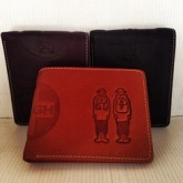 กระเป๋าเงินหนังแท้ลายลายคนคู่วงกลมครึ่งซ้ายมีช่องใส่เหรียญกระดุม3 สี