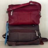 กระเป๋าสะพายยาวหนังแท้ลด50สีแดงน้ำตาลซิปคู่299