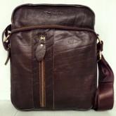 กระเป๋าสะพายหนังแท้รุ่นซิปโค้งหน้าซิปข้างตั้งหนังลายสีน้ำตาลเข้มลด50เปอร์เซนต์