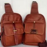กระเป๋าเป้หนังแท้สีแทนขนาดipad-miniรุ่นกระเป๋าหน้าเข็มขัดหน้า