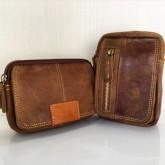 กระเป๋าหนังแท้ใส่มือถือร้อยเข็มขัดสีฟอก3เครื่องiphone6+