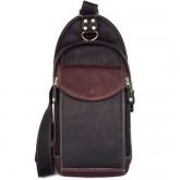 กระเป๋าสะพายอกคาดเอวหนังแท้ฝาเล็กดำ-ตาลเข้ม