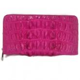 กระเป๋าเงินซิปรอบจัมโบ้หนังจระเข้แท้สีบานเย็นกระดูกกลางหลัง