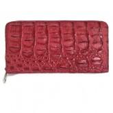 กระเป๋าซิปรอบหนังจระเข้แท้รุ่นซิปรอบเปิดกว้างแดงเข้ม