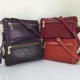 กระเป๋าสะพายหนังแท้ซิปทองคู่แฝด 4 สี คล้องมือและสะพายยาว